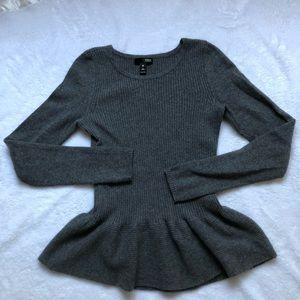 Aqua 100% Cashmere Peplum Sweater